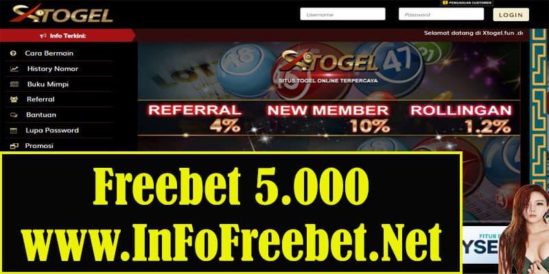 Freebet XTogel Senilai 5.000 - Info Freebet Terbaru